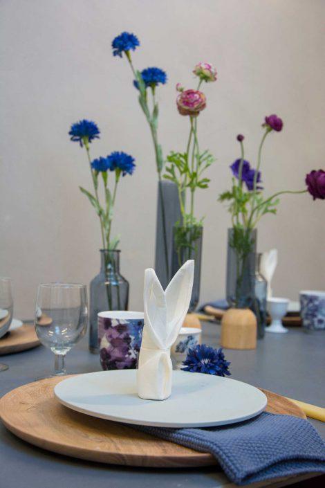 Blå påske bordpynt