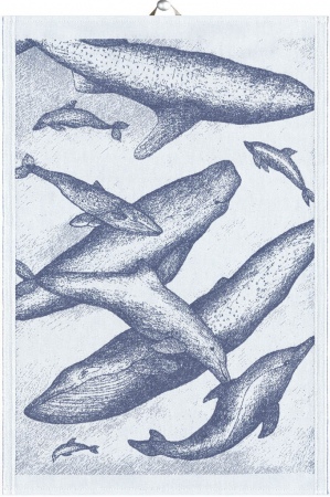 Økologisk viskestykke fra Ekelund - Blå - Whales