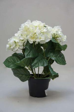 Kunstige blomster - hvid hortensia i potte