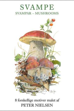Kort med kuvert med motiver af svampe