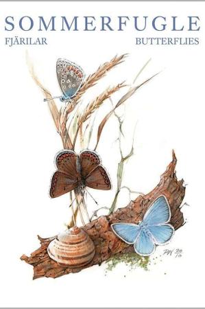 Kort og kuvert med motiver af sommerfugle